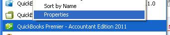 Right-click on the program icon