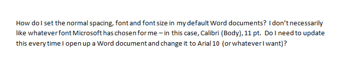 how to change microsoft word default font